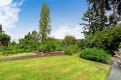 Backyard with garden bed. Green garden bed on backyard area Royalty Free Stock Photography