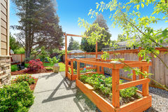 Backyard garden bed with trellis. VIew of concrete walkway and small garden bed with trellis Stock Photo