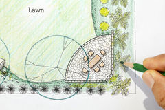 Backyard garden design plan. Stock Photo