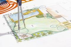 Backyard garden design plan. Royalty Free Stock Images