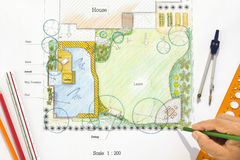 Backyard garden design plan. Stock Images