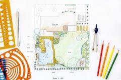 Backyard garden design plan. Stock Photos