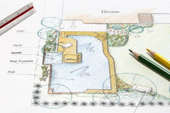 Backyard garden design plan. Landscape architect design backyard garden plan royalty free stock image