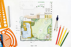 Backyard garden plan royalty free stock photo