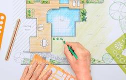Backyard garden and pool design plan. Backyard garden and pool design plan for villa stock images