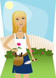 Backyard Gardening. Sunny day, blue sky, perfect for tending to the yard Royalty Free Illustration