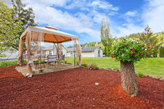 Backyard with gazebo and decorative tree Stock Photo