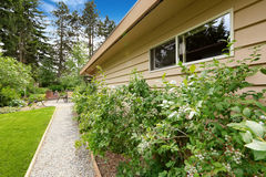Backyard with gravel walkway and bushes alongside Stock Image