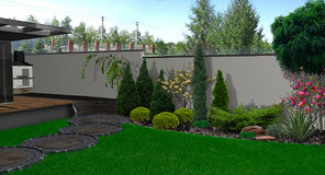 Backyard horticultural background, 3d render Stock Photos
