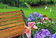 Backyard landscape stock photography