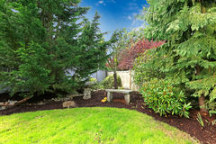 Backyard landscape design Stock Photo