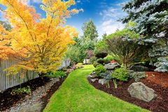Backyard landscape design. Tropical theme Royalty Free Stock Photo