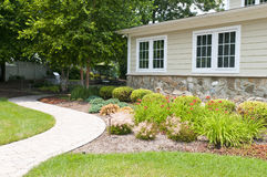 Backyard landscaping. And walkway of a suburban home Stock Images