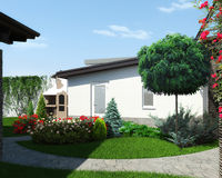 Backyard landscaping and garden design, 3d render. Natural character of the site into the design. Well-thought landscape planning Royalty Free Stock Photo