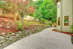 Backyard leveled landscape design Royalty Free Stock Photo