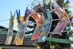 Backyard money laundering outside on cloths line Royalty Free Stock Photography