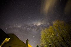 Backyard Night Sky. A view of the night sky from a backyard in New Norfolk in Tasmania royalty free stock images