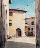 Backyard. Original oil painting of Italian yard in Tuscan village San Gusme,Italy Royalty Free Stock Images