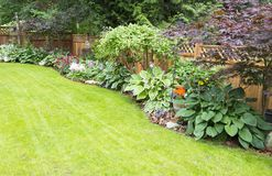 Backyard Paradise. Beautiful garden arrangement of annuals, perennials and foliage Royalty Free Stock Photography