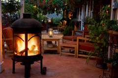 Backyard Patio And Fireplace Stock Photography