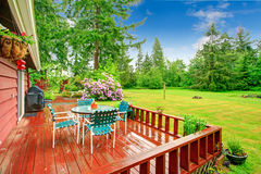 Backyard with patio area Royalty Free Stock Photos