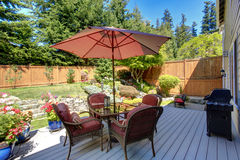 Backyard patio area with landscape Royalty Free Stock Image