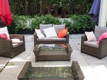 Patio garden furniture in Rome. Backyard, patio and garden furniture in an Italian home in Rome Royalty Free Stock Image