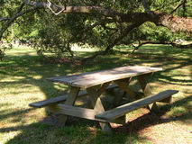 Backyard Picnic Table. Picnic table waits for visitors Royalty Free Stock Images