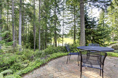 Backyard with pine trees and metal table with chairs. Royalty Free Stock Photography
