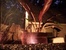 Backyard pizza oven. Long exposure of pizza oven with banana plant in the background Royalty Free Stock Image