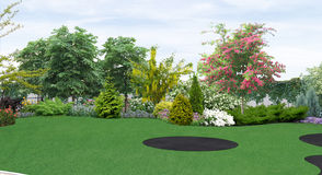 Backyard planting of greenery, 3d render Stock Image