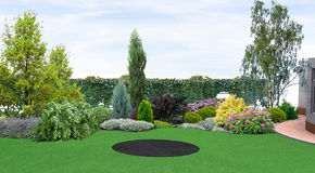 Backyard planting of greenery, 3d render Royalty Free Stock Photos