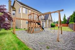 Backyard with playground Stock Image