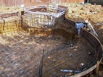 Backyard pool construction Royalty Free Stock Photography