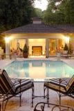 Backyard Pool House Royalty Free Stock Photography