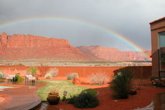 Backyard Rainbow Pot of Gold. Red Cliffs Desert Reserve Royalty Free Stock Image