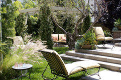 Backyard Relax. The backyard of a Californian house on a sunny day Stock Photo