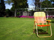 Backyard Retirement Bliss. A new backyard, ready for retirement Stock Photo