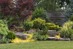 Backyard Rock Landscaping. Naturally sculptured flat top rocks from northwest Oregon are placed in a beautifully landscaped backyard among a variety of perennial Royalty Free Stock Photos