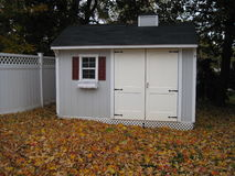 backyard shed in autumn Royalty Free Stock Images