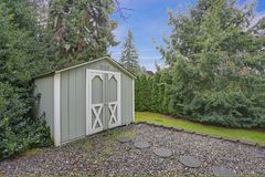 Backyard shed with lots of trees around royalty free stock photos