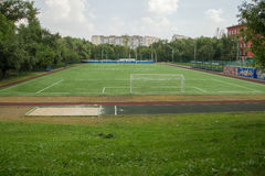 Backyard soccer field, Moscow, Russia Royalty Free Stock Photography