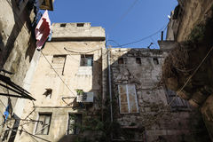 Backyard in the streets of Tripoli, Lebanon stock photos