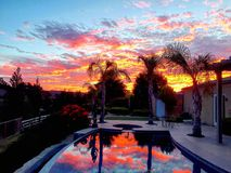 Backyard Sunset Stock Images