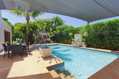 Backyard with swimming pool Stock Images