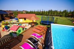 Backyard with swimming pool Royalty Free Stock Photo