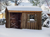 Backyard Tool Shed In Snow Royalty Free Stock Image