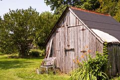 Backyard tool/storage shed. Old, weathered utility tool and storage shed in the back yard Royalty Free Stock Image
