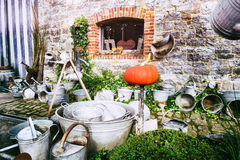Backyard with vintage garden tools Stock Photography