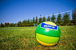 Backyard volleyball Stock Images